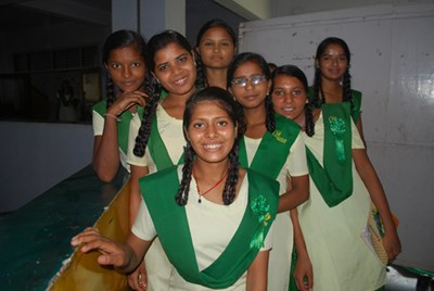 A groupof girls at Pardada Pardadi, a school in rural India