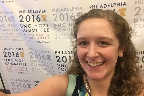 Sarah Chapman, 22, a political science major from Pelham, is working at the Democratic National Convention in Philadelphia this week. The work is part of a partnership between her school, UMass Lowell, and the Washington Center for Internships and Academic Seminars.