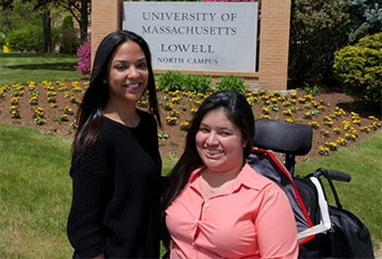 Marlene Perez and Janelle Diaz, both from Lawrence, will graduate from UMass Lowell on Saturday. Eaglie-Tribune photo by Ryan Hutton