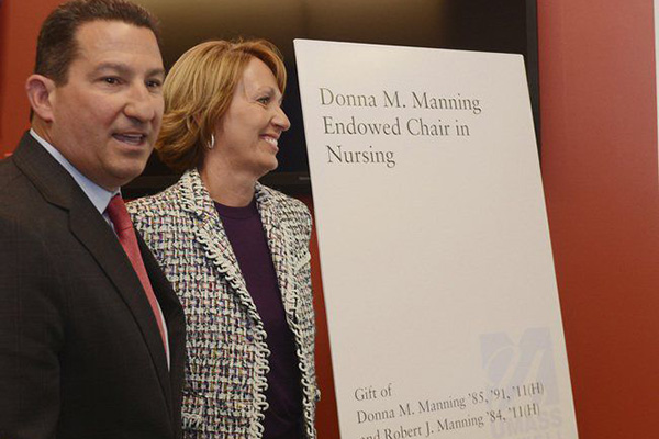 UMass Lowell alumni Robert and Donna Manning are shown at the event celebrating the new Donna Manning Endowed Chair for Nursing, the first professorship in the history of the university's nearly 50-year-old nursing program.