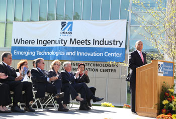 Gov. Deval Patrick receives a round of applause during the opening of the Emerging Technologies and Innovation Center. Meghan Moore photo.