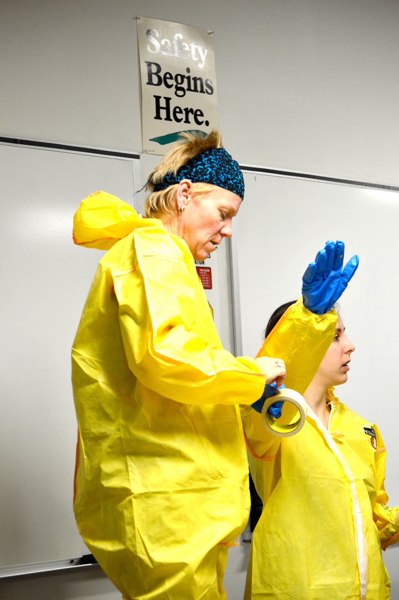 UML facilities staff take TNEC training to protect themselves in case of a hazardous spill.