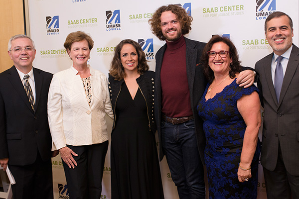 "Saab Center Director Prof. Frank Sousa, Chancellor Jacquie Moloney, musicians Joana Amendoeira and Duarte, sponsor Elisia Saab and Consul General José Rui Velez Caroço at the ""Sounds of Portugal"" concert."