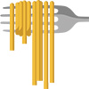 Illustration of spaghetti hanging from fork
