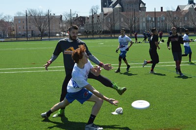 UMass Lowell students play ultimate frisbee on the new Campus Rec Complex on East Campus