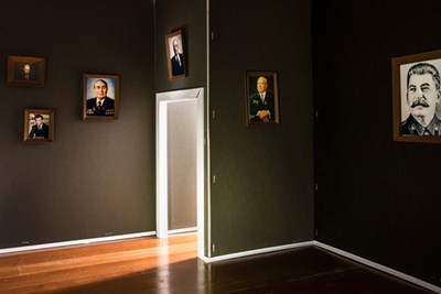 """Gallery,"" another of the images from Pavel Romaniko's grant-winning series. Note the visible staples."