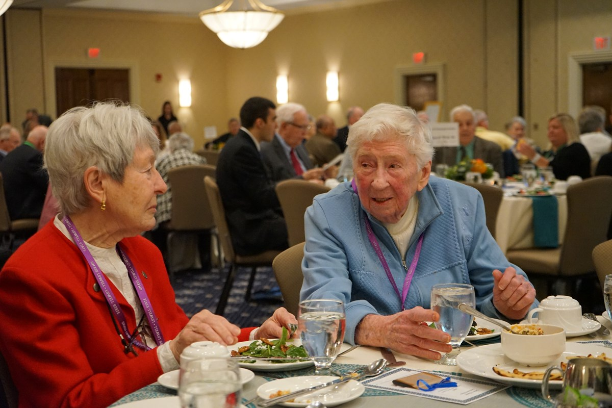 Gertrude Bailey at a luncheon at UMass Lowell's ICC