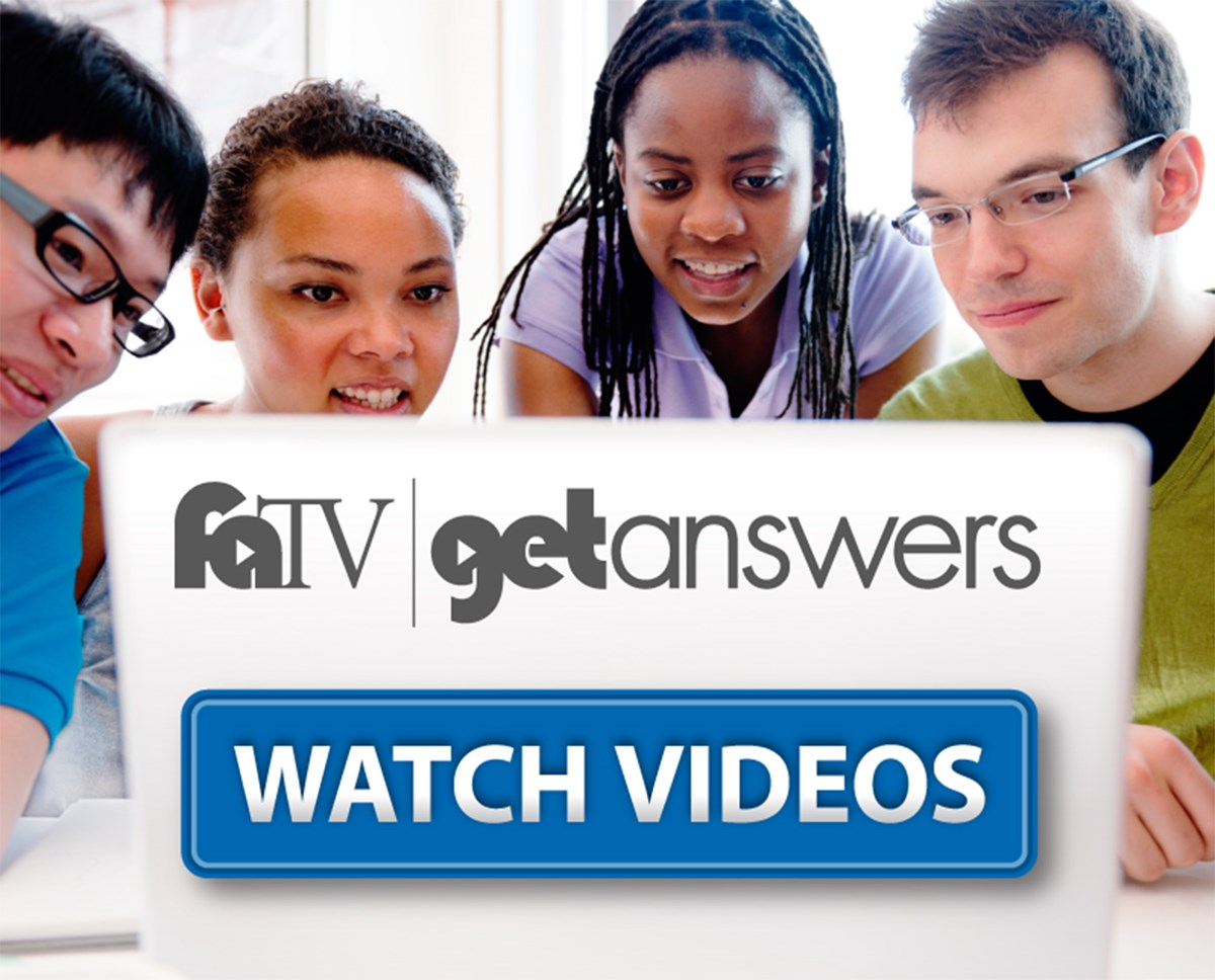Promotional banner for Financial Aid TV videos showing people looking at a screen that says: faTV get answers watch videos