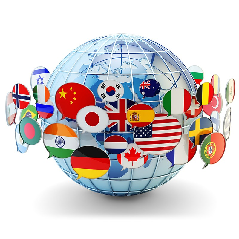 Globe surrounded by bubbles containing world flags