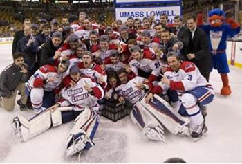 UMass Lowell celebrated its second consecutive Hockey East tournament championship on Saturday.