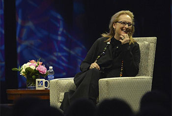Oscar winner Meryl Streep spoke to a crowd of 3,500 UMass Lowell students, faculty, and staff, as well as members of the public in the latest installment of the Chancellor's Speaker Series. Streep spoke to bestselling author Andre Dubus III, a professor in UMass Lowell's English Department, about her long and storied career as an actress.