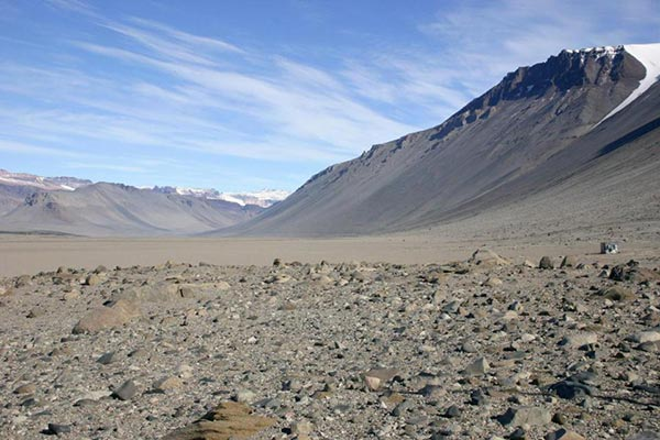 Glaciers are buried under the dry, rocky terrain of Antarctica's McMurdo Dry Valleys.