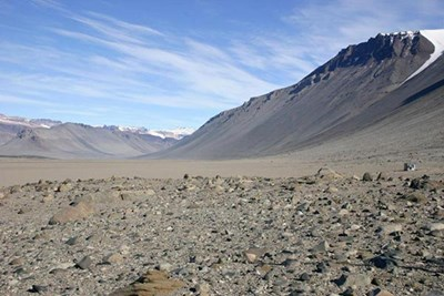 Glaciers are buried under the dry, rocky terrain of Antarctica's McMurdo Dry Valleys. Photo by David Saul