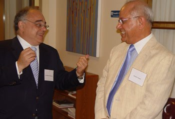 Constantinos Orphanides, left, Consul General of the Greek Embassy in Boston, and Provost Ahmed Abdelal.
