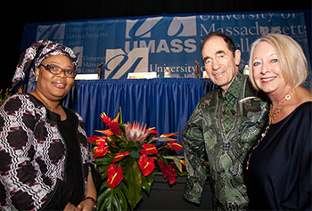 The University was visited by world-renowned peace activists and former Greeley Scholars for Peace, from left, Nobel Peace prize winner Leymah Gbowee, Justice Albie Sachs and Linda Biehl.