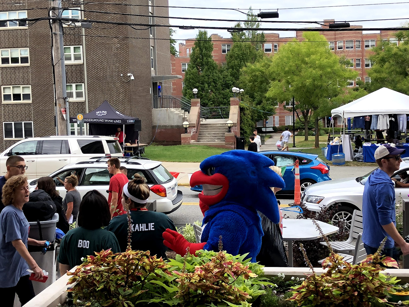 "Rowdy, the University mascot, is seen interacting with students as they move in to their college residences on ""Move-In"" Day!"