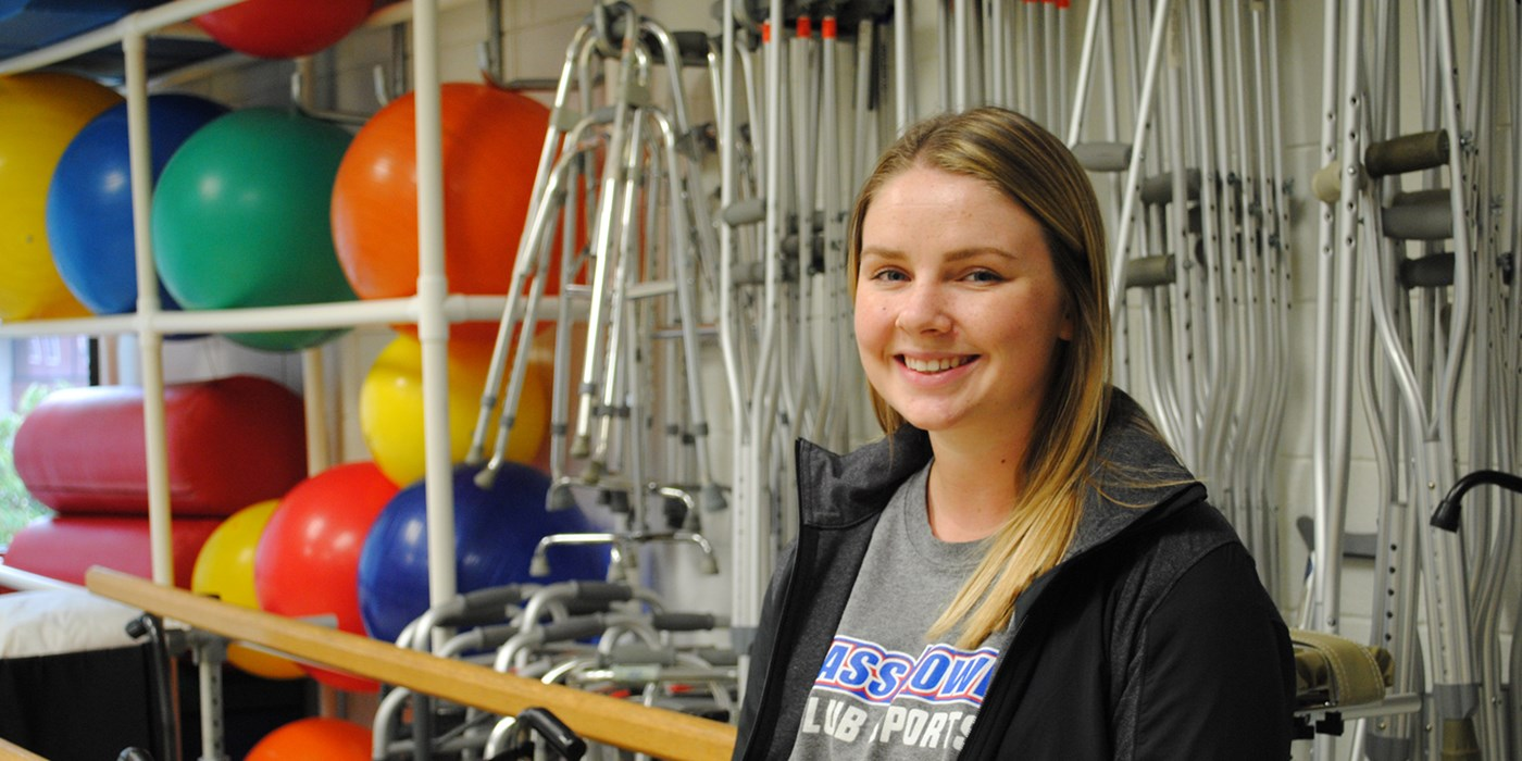 Haley LaFreniere pictured in a Physical Therapy lab at UMass Lowell