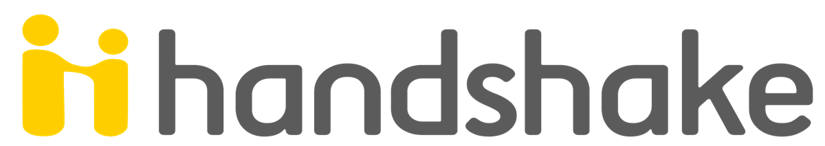 Handshake logo. Handshake is an app that connects students on college campuses with open positions, mainly internships and entry level jobs.