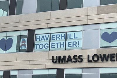 Windows of Haverhill iHub display messages of hope