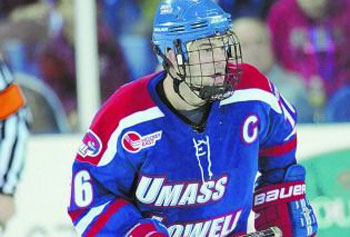 HAWKISH: Coach Norm Bazin has UMass-Lowell rising to national prominence, thanks in part to skilled players such as Riley Wetmore, above.