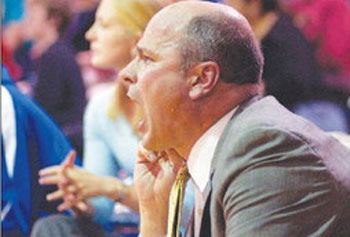 UMass Lowell men's basketball coach Greg Herenda can get emotional on the sidelines.