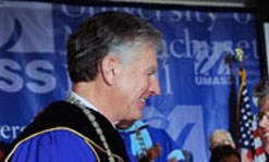 Marty Meehan in an academic robe