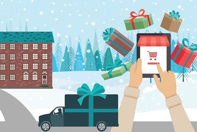 An illustration of a person ordering gifts on their smartphone