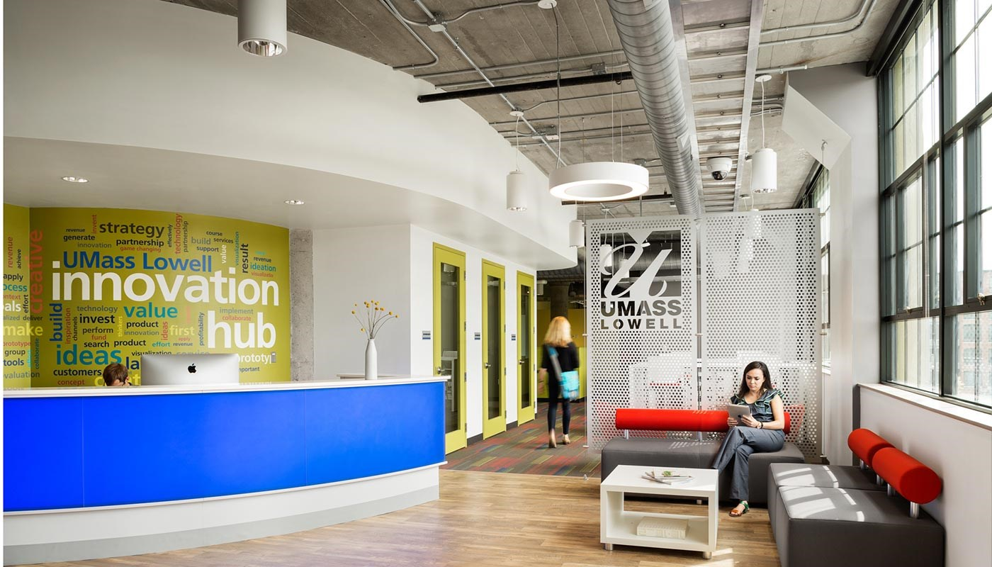 Innovation Hub lobby at UMzss Lowell