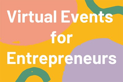 "Colorful background with words ""Virtual Events for Entrpreneurs"""