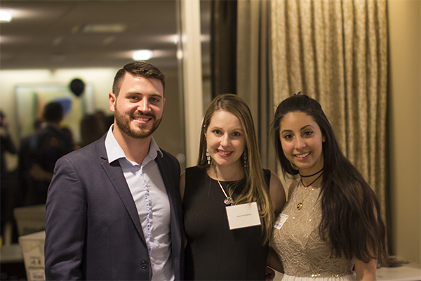 The team: Raymond Hamilton, Susy Portocarrero, marketing and communications director, and Rajia Abdelaziz at the InvisaWear launch party in Boston.