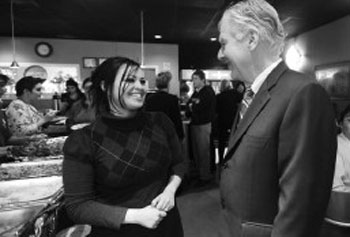 Babylon owner Leyla Al-Zubaydi thanks UMass Lowell Chancellor Marty Meehan for the school's support.