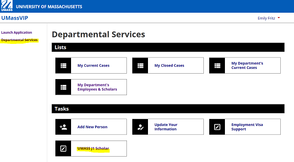 "screenshot of UMassVIP departmental services page with ""departmental services"" hyperlink highlighted on left hand navigation; ""UMass J1 Scholar"" hyperlink is highlighted at bottom of center of page under ""tasks"" heading"