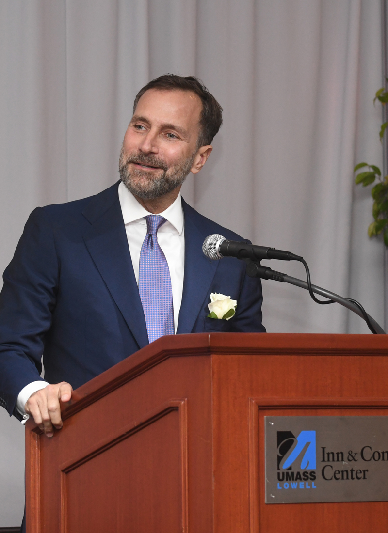 Distinguished alum James Costos speaks at a UMass Lowell event