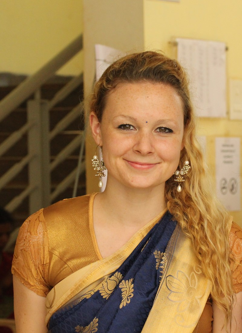 Jennifer Schultz wears a sari during her visit to India with UMass Lowell's B.V.B. Innovation and Entrepreneurship Program