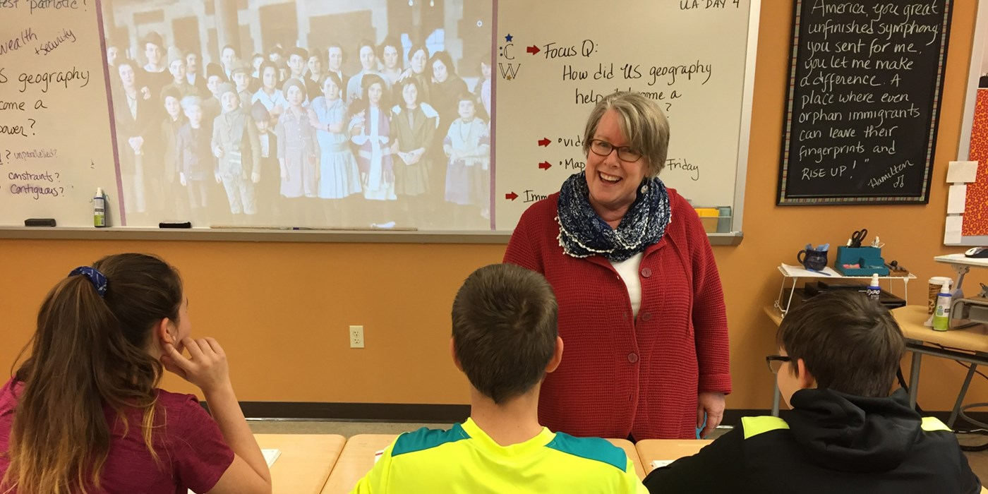 History teacher and UMass Lowell almuni Kathleen Curtin in her classroom in Portsmouth, NH