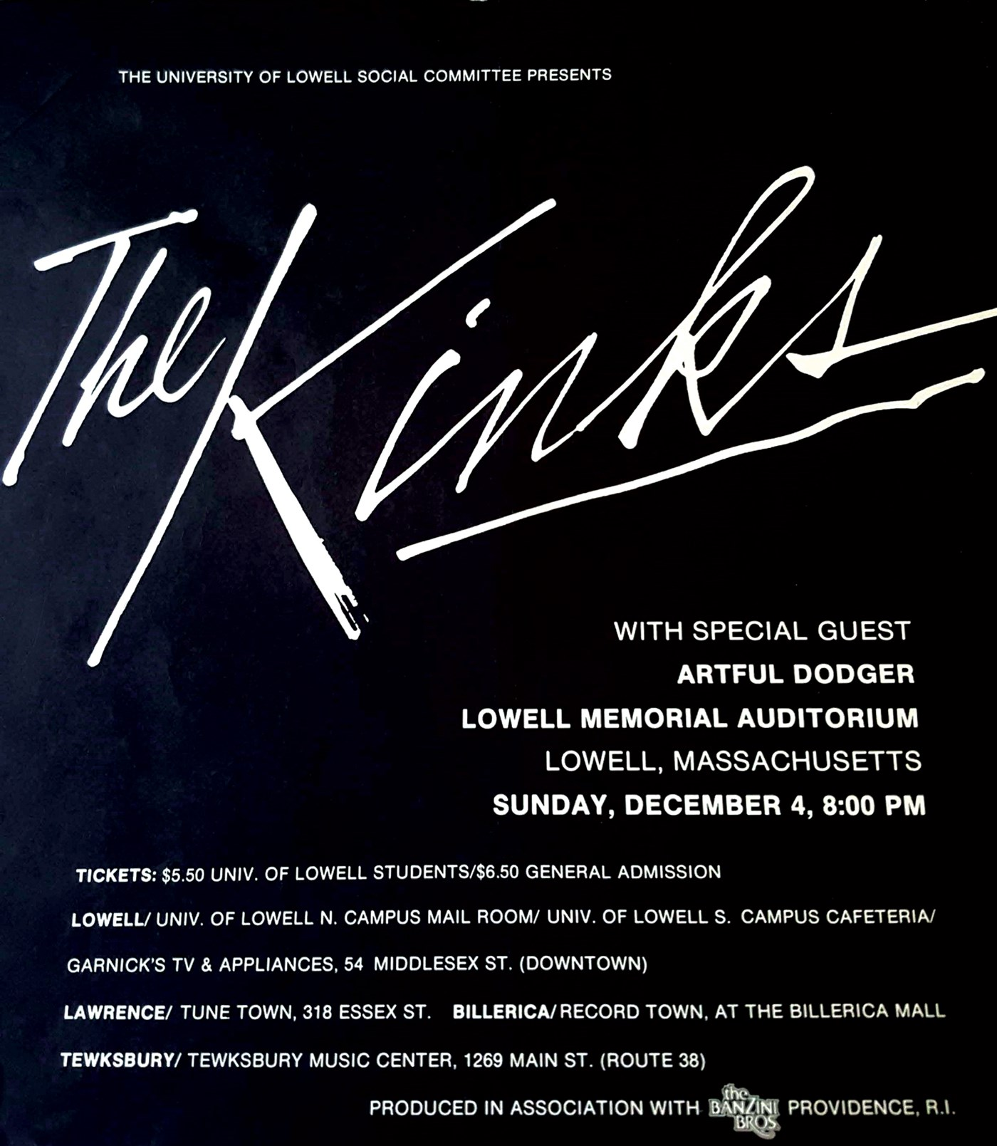 Scanned image of old Kinks poster