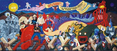 Mural depicting labor solidarity across borders