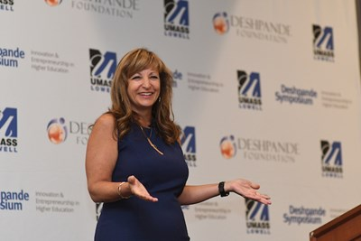 Julie Lenzer shares a lighter moment during her keynote speech at the 2018 Deshpande Symposium.