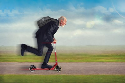 Illustration of a white-haired nonagenarian in a suit zooming on a red scooter