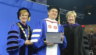 Chancellor Jacquie Moloney, Boston Pops Conductor and Sen. Eileen Donoghue after Lockhart received his honorary degree.