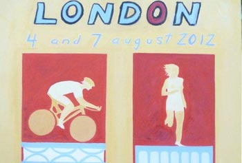 The 2012 Olympics triathlon poster will be based on this  painting by Prof. Michael E. Jones.