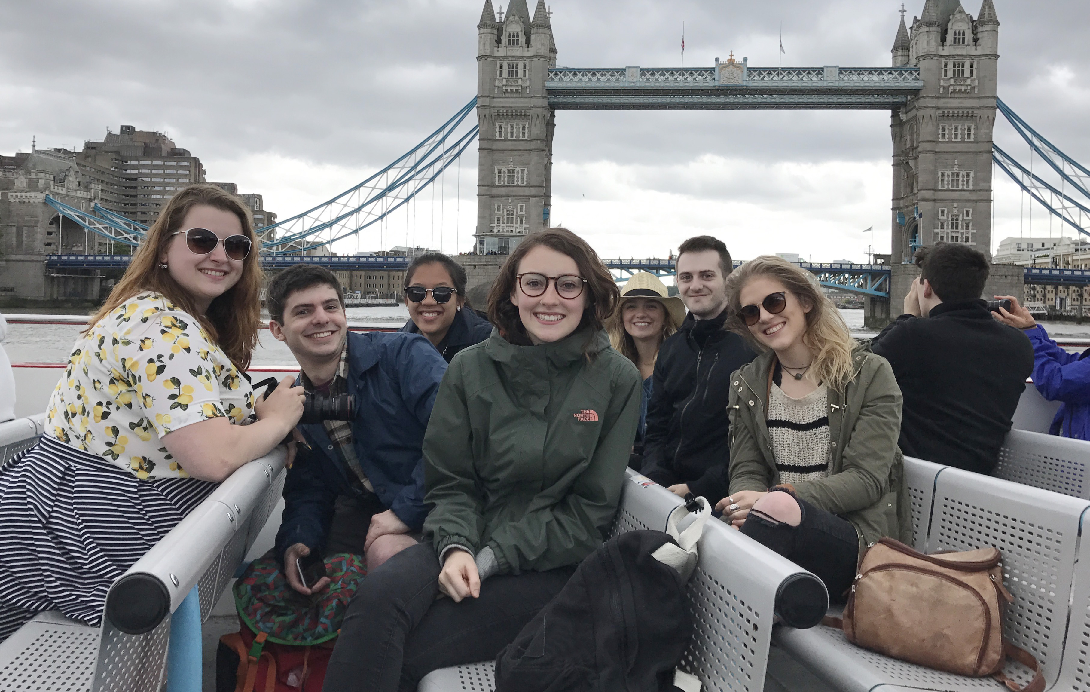 A group of UMass Lowell design students in front of Tower Bridge in London this past summer.