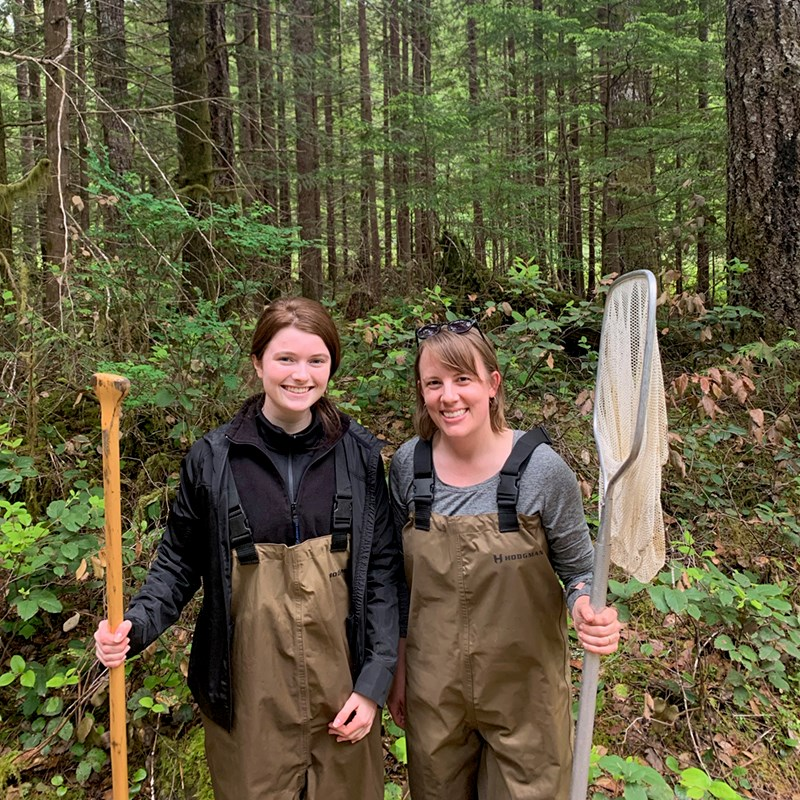 Asst. Prof. Natalie Steinel, right, and biology student Maeve Moynihan do field research on Vancouver Island.