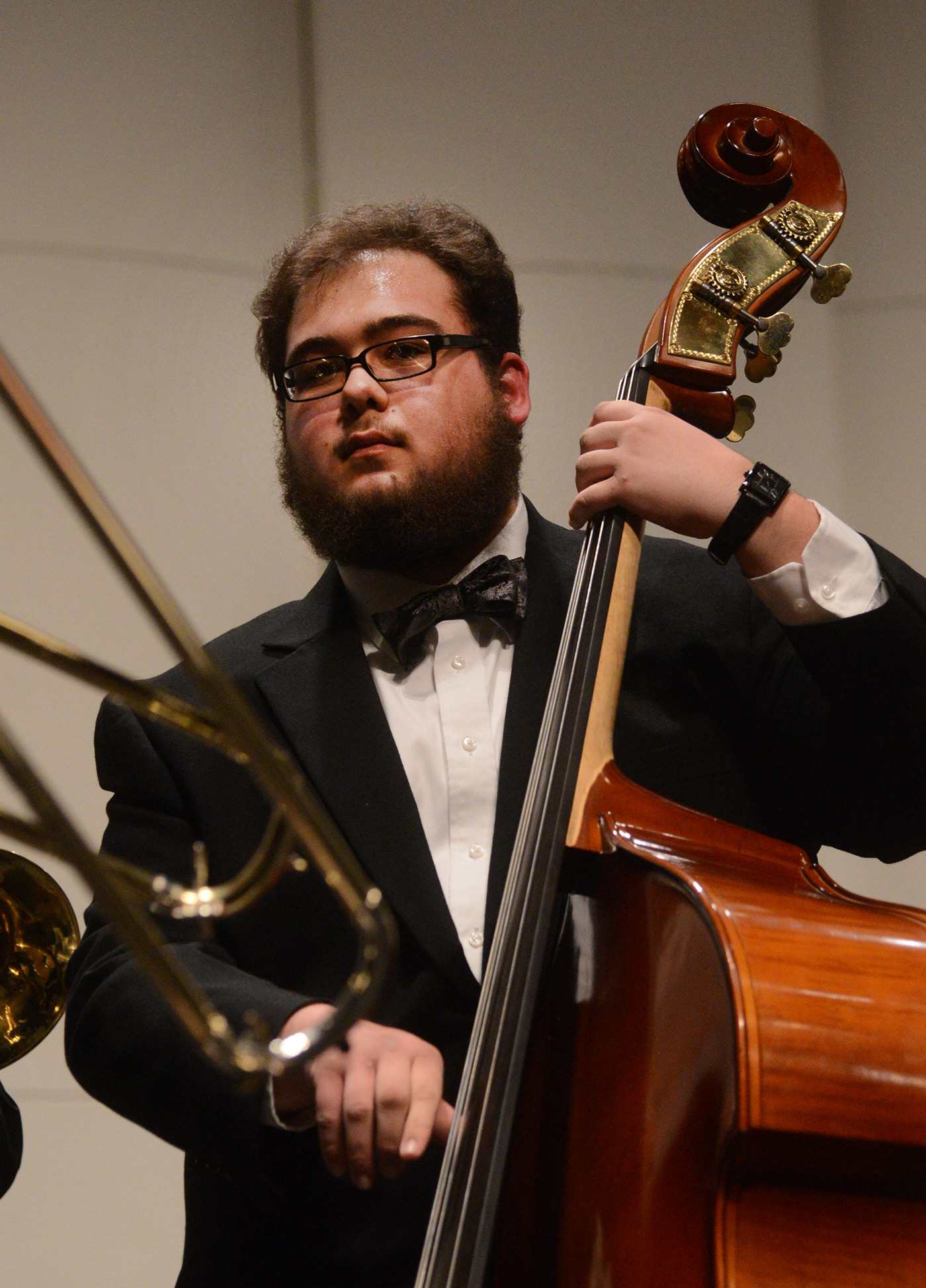 "A bass player performs at the University Orchestra's ""All You Need is Love!"" Valentine's Day concert."