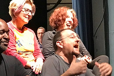 Manhattan Transfer singers chat with students about their craft.