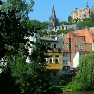 Houses on a hill in Marburg, Germany