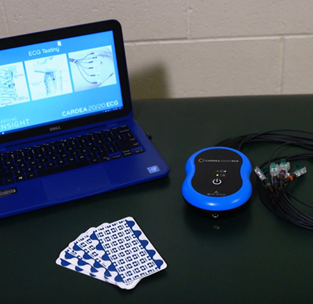 Laptop pictured with state-of-the-art ECG technology to screen students for undetected cardiac conditions