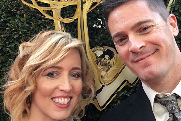 Colleen Rourke '97 and Matt Pavolaitis '95 celebrate the Emmy win.