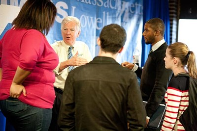 UMass President Marty Meehan speaks with students.