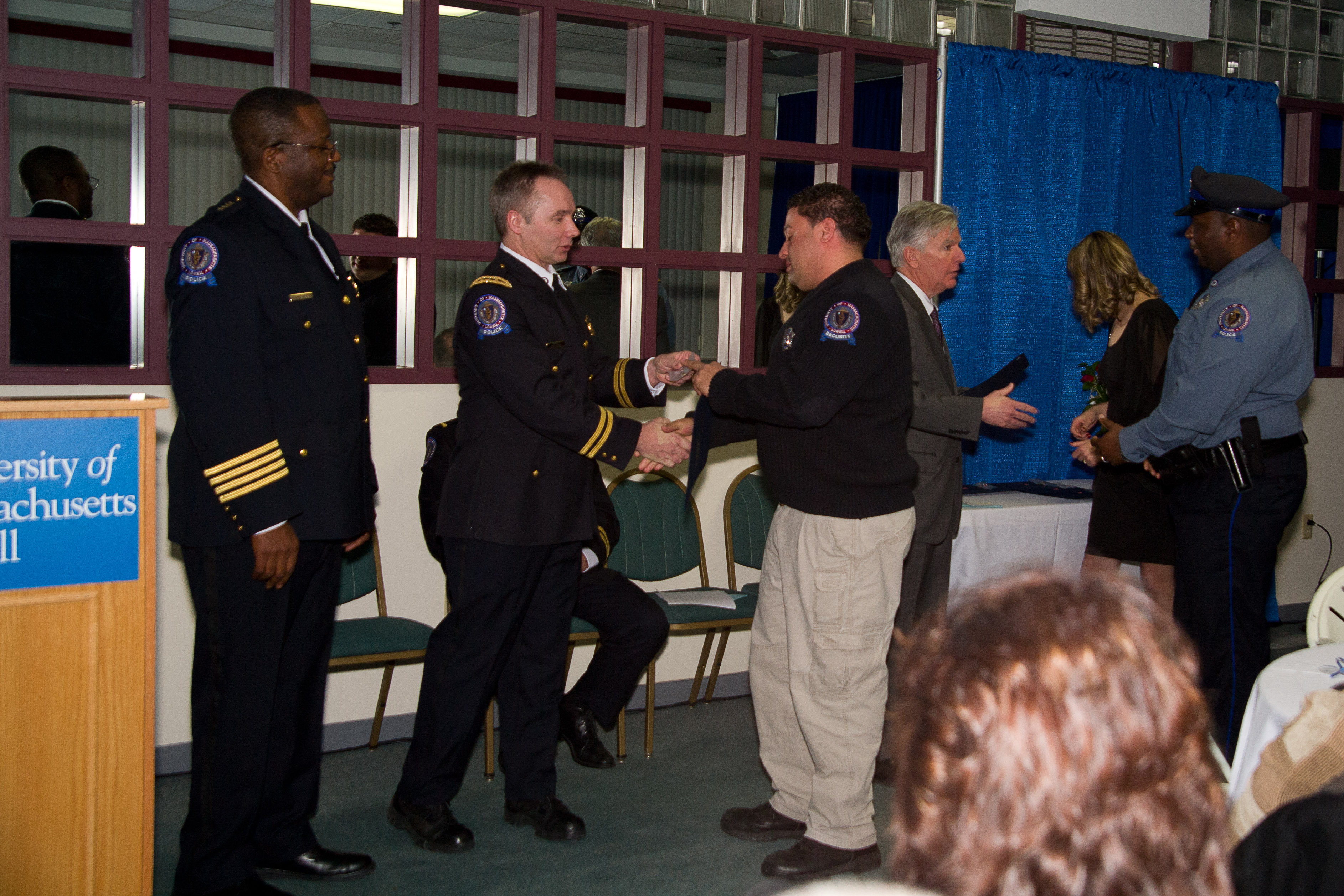 Seven members of UMass Lowell's Police Department were recognized for their accomplishments over the past year.